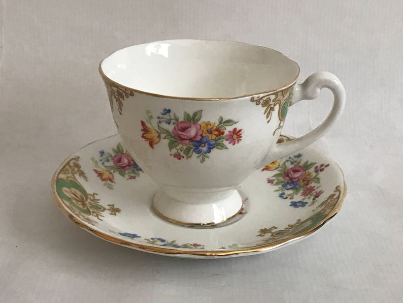 Tea Cup and Saucer ENGLISH Bone China  Clarence China image 0
