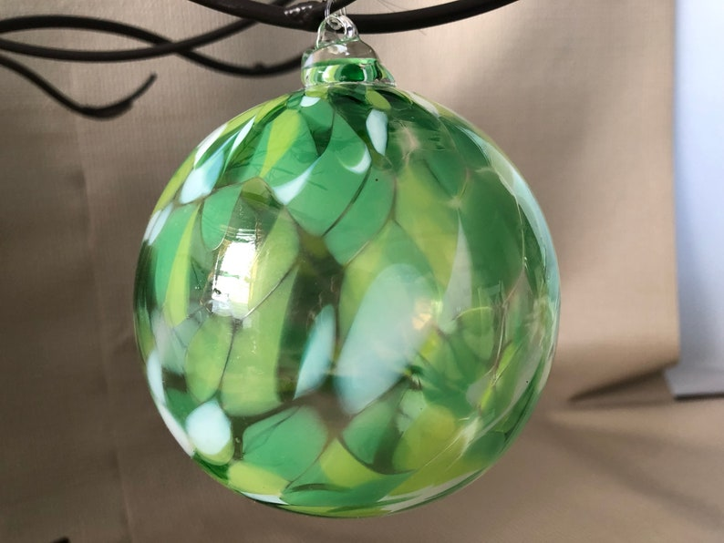 Vintage HAND BLOWN GLASS Ornament Art glass ornament  green image 0