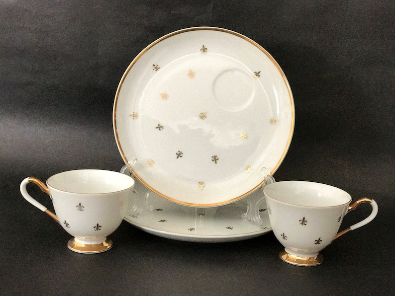 Fleur de Lis Tea Pair CHINA LUNCHEON SET Footed Cup and image 0
