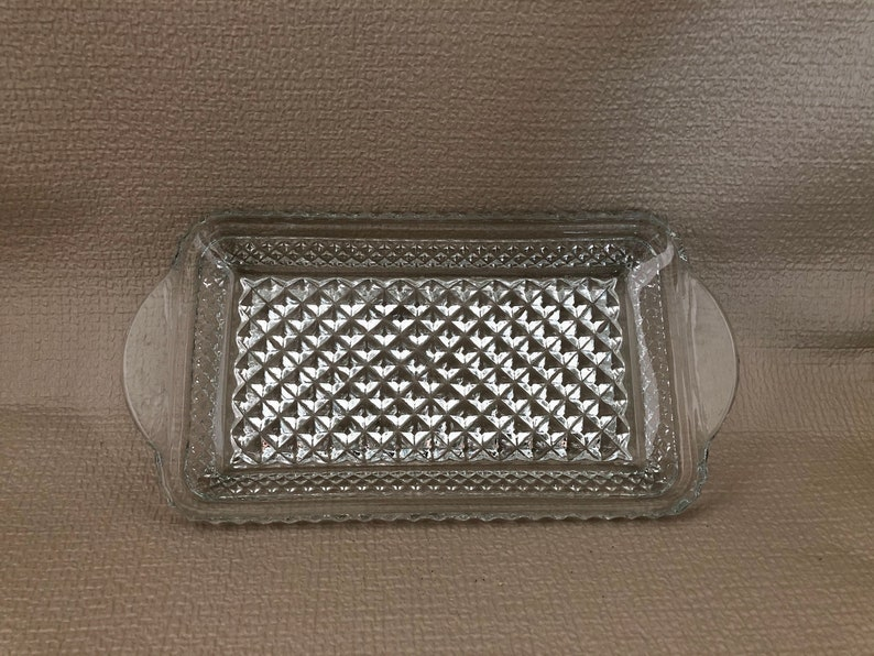 Clear GLASS Handled SERVING DISH Anchor Hocking Wexford image 0