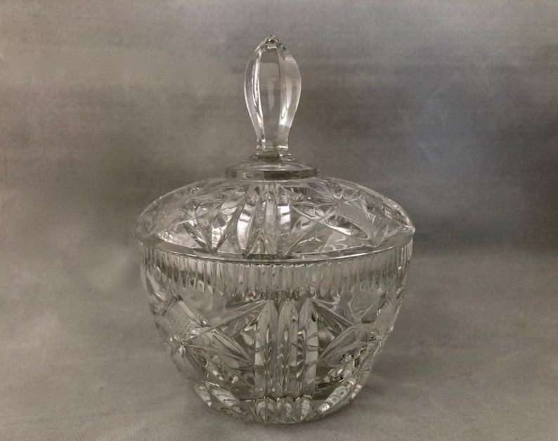 Lidded Crystal CANDY DISH Glass Candy Dish Lidded Candy image 0