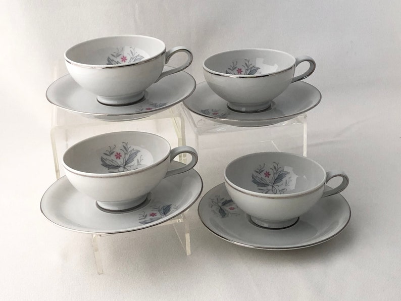 ESPRESSO SET 4 Cups & Saucers Mid Century China Demitasse image 0