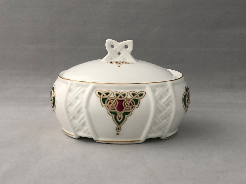 Irish Bone China Lidded TRINKET BOX Celtic Spirit Royal image 0