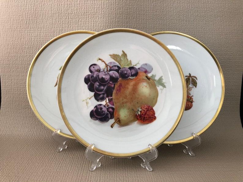 SET of 3 Fine GERMAN China Fruit Design Plates image 0