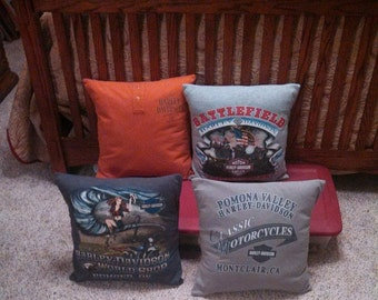 Memory pillow cover made with your keepsake T-shirt. Custom.
