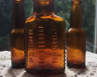 Vintage Amber Brown Bottle Set