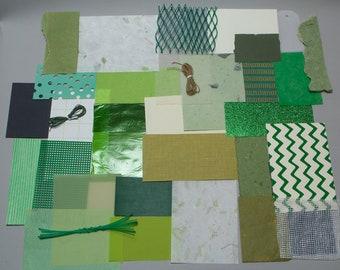 Mixed Media Scrap Pack in Greens - Grab Bag of Art Supplies - Creativity Kit
