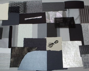 Grab Bag Mixed Media Scrap pack - Creativity kit for collage, cardmaking, scrapbooking, art projects - Black Silver Grey