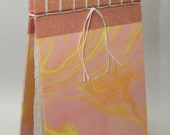 Stacey, handmade artist's book with monoprints and Japanese suminagashi paper marbling