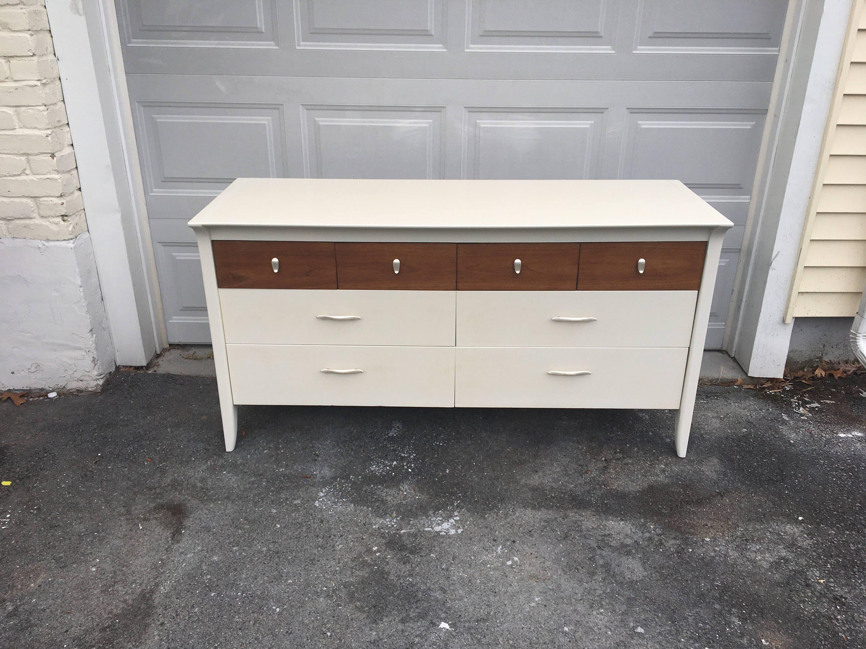 Mid Century Modern Dresser White Wood Mid Century Dresser Etsy