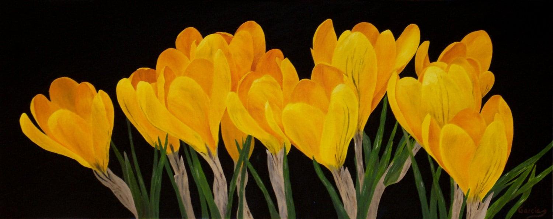 Crocus Oil Painting Flower Painting Yellow Crocus Flower Etsy