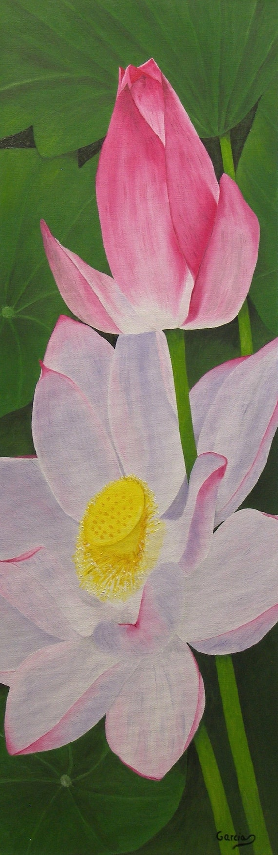 Lotus Flower Oil Painting Flower Painting Pink Original Oil Etsy