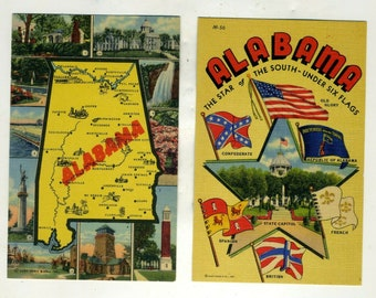 2 Vintage Postcards From Alabama Postcard Junk Journal Ephemera Alabama The Star The South Under 6 Flags and State Map Views