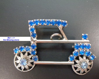 04d9724d01 Vintage blue rhinestone car brooch pin Silver Tone Ford Model T Automobile