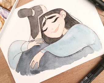 Mulan watercolor drawing #doodletimewithkaroline