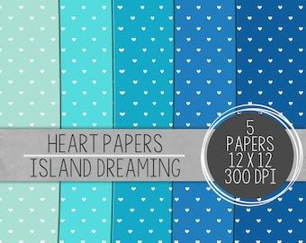 Blue Hearts Paper, Digital Heart Paper, Digital Paper Pack, Bright Digital Paper,Printable Paper, Scrapbooking Papers, Hearts Digital Paper