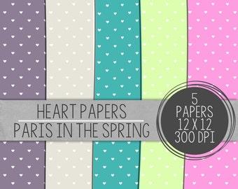 Hearts Paper, Digital Heart Paper, Digital Paper Pack, Bright Digital Paper,Printable Paper, Scrapbooking Papers, Hearts Digital Paper