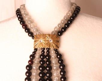 Vintage 6 Strand Necklace with Center Sunburst Piece