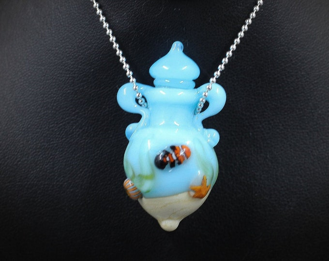 The Bimini Bay Italian Glass Handmade Essential Oil Vessel Bead Necklace