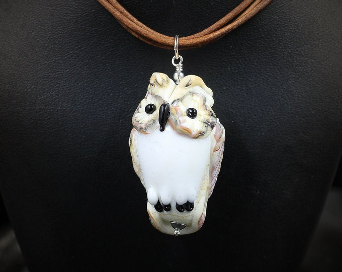Owl Glass Lampwork Pendant Necklace