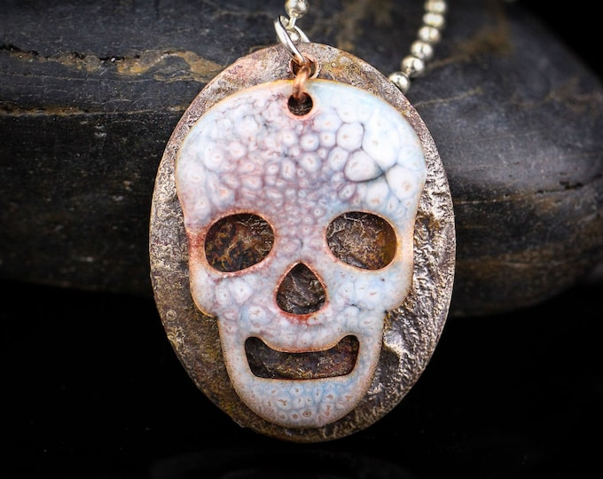 Crackle Enamel Skull on Shibuichi Style base