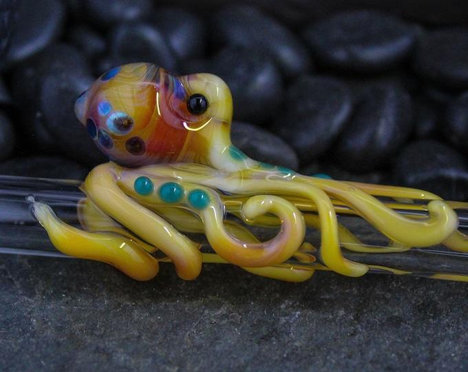 The Aqua Loki Boro Glass Octopus Forever Straw