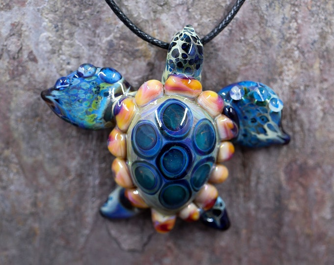 Honu Boro Glass Sea Turtle Necklace - Made to Order