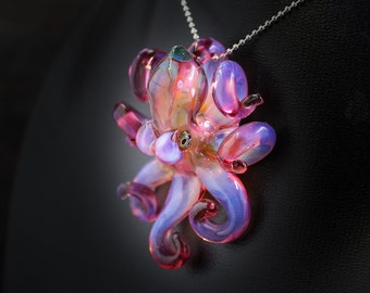 The Blood Moon Kraken Collectible Wearable  Boro Glass Octopus Necklace / Sculpture Made to Order