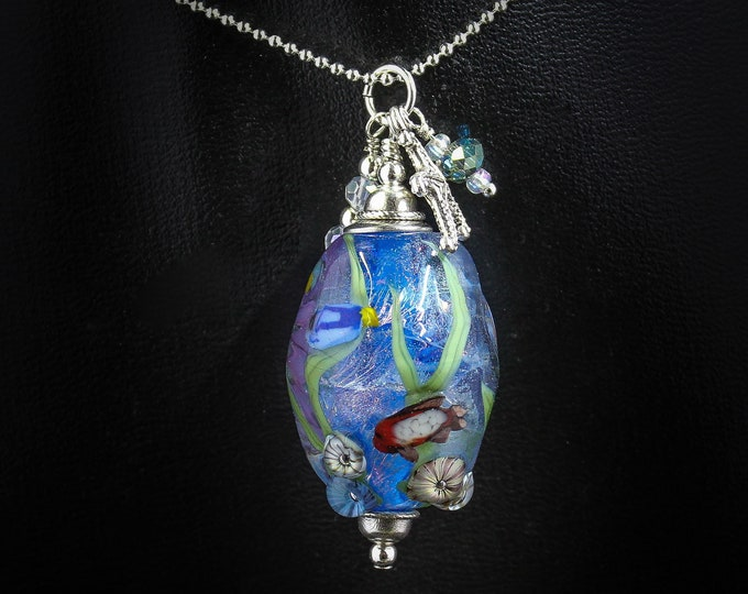 Mermaid Jewelry Underwater Aquarium Bead-Red Fish, Blue Fish