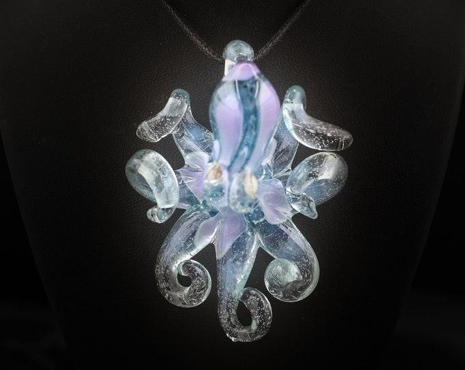 The Blue Nimbus Kraken Collectible Wearable  Boro Glass Octopus Necklace / Sculpture Made to Order