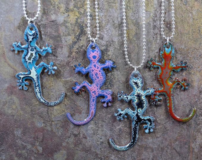 "Crackle Enamel 2"" Funky Lizard Necklace - Your Choice"