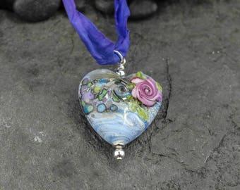 Handmade Italian Glass Heart Pendant on Handmade Sari Silk Necklace - Made to Order