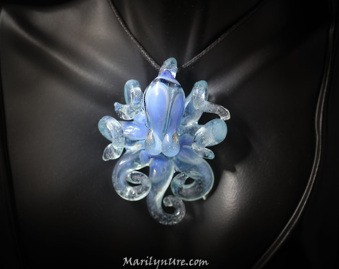 The Blue Dust Nimbus Kraken Collectible Wearable  Boro Glass Octopus Necklace / Sculpture Made to Order