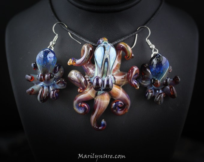 Silver Beech Octo Baby Earrings and matching Kraken