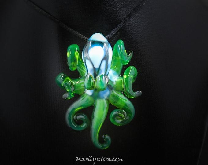 Calypso's Envy Kracken Collectible Wearable  Boro Glass Octopus Necklace / Sculpture Made to Order