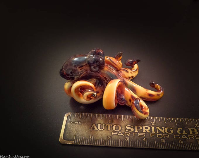 The Leopard Kracken Collectible Wearable  Boro Glass Octopus Necklace / Sculpture Made to Order