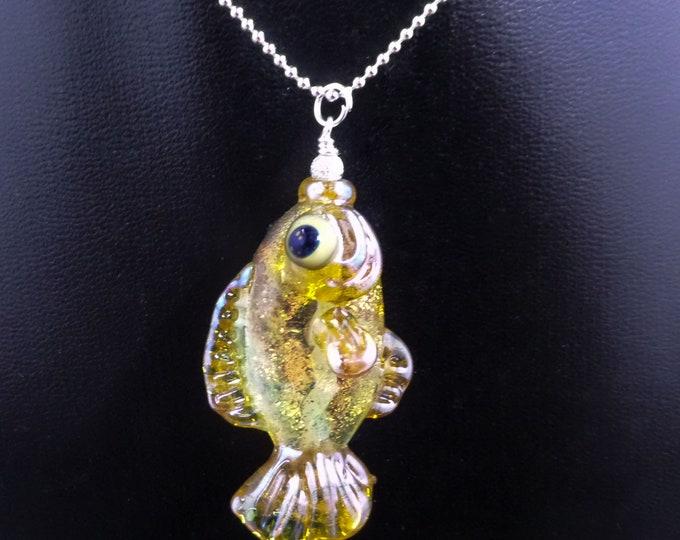 Real Gold Helios Goldfish Glass Pendant