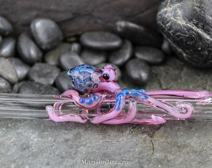 The Luscious Pink Boro Glass Octopus Forever Straw - Made to Order