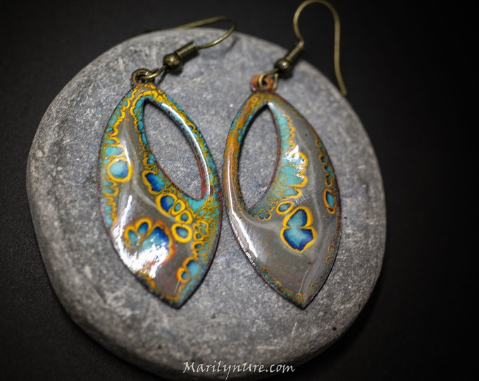 "Crackle Enamel 1.5"" Funky Hippie earrings Set B"