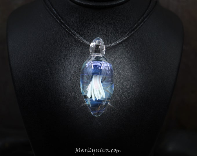 Boro Glass Trapped Jellyfish Pendant - No, you don't have to feed them!