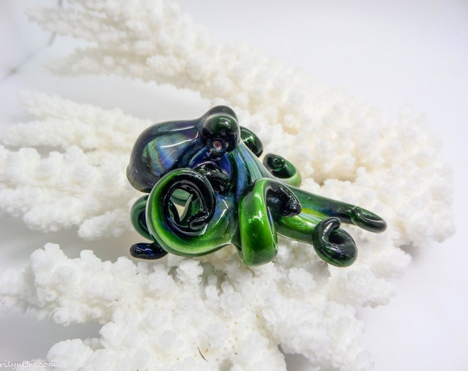 The Green Teal Kracken Collectible Wearable  Boro Glass Octopus Necklace / Sculpture Made to Order