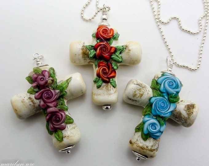Cross Bead in Italian ancient ivory glass with red, pink or blue roses on a silver ball chain