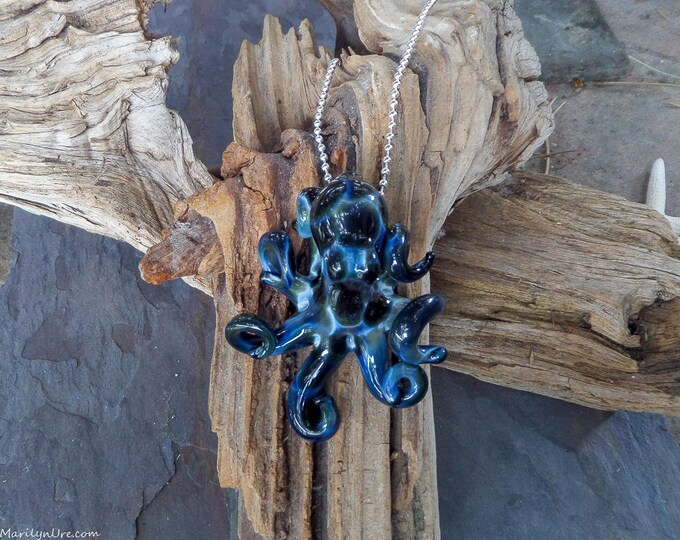 The Blue Lightning Collectible Wearable Boro Glass Octopus Necklace / Sculpture- Made to Order