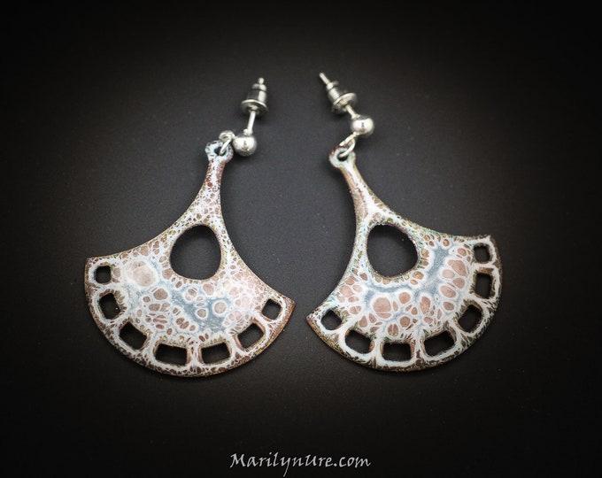 "Crackle Enamel 1.5"" Winter White earrings"