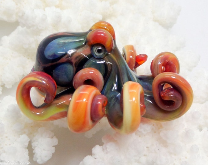 The Little Blue Citrus Kracken Collectible Wearable  Boro Glass Octopus Necklace / Sculpture Made to Order
