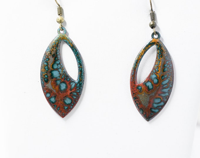 "Crackle Enamel 1.5"" Funky Hippie Turq earrings"
