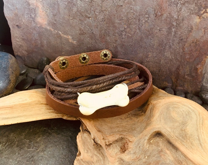Favorite Dog Leather Wrap Bracelet