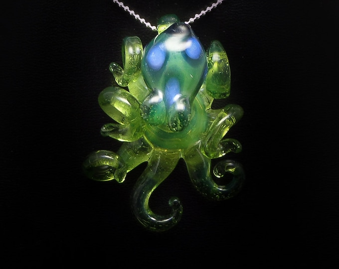 The Blue Lime Kracken Collectible Wearable  Boro Glass Octopus Necklace / Sculpture