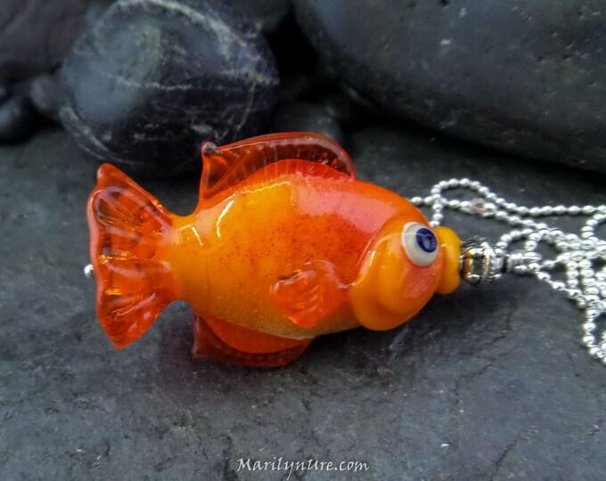 Lucky Orange Goldfish Glass Pendant - Made to Order