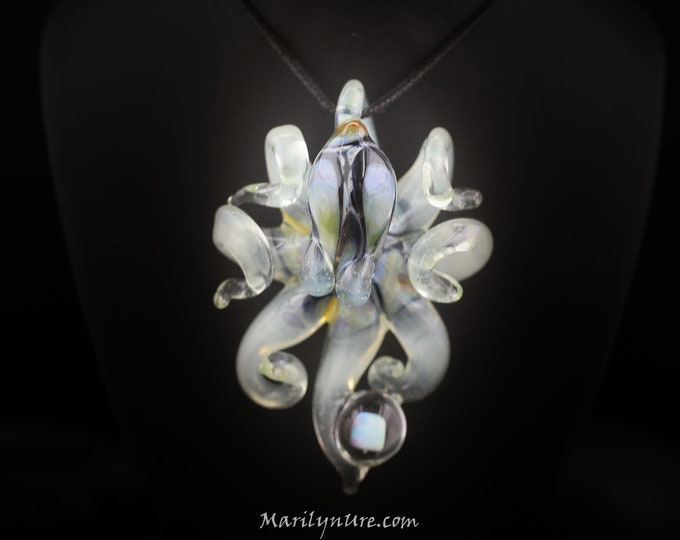 The Electric Coconut Opal Catcher Kracken Collectible Wearable  Boro Glass Octopus Necklace / Sculpture Made to Order